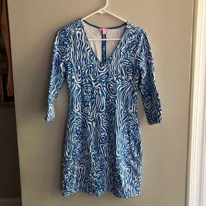 Lilly Pulitzer Blue White Cotton Knit Dress Sz XS
